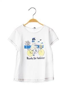T-shirt manches courtes blanc 3 POMMES pour fille