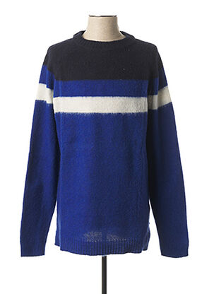 Pull col rond bleu WOOL & CO pour homme