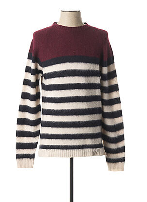 Pull col rond rouge WOOL & CO pour homme