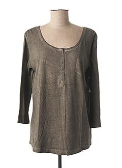 T-shirt manches longues marron FLEUR DE SEL pour femme