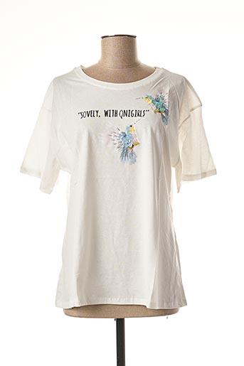 T-shirt manches courtes blanc CHERRY BLOOM pour femme