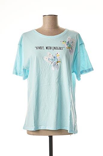 T-shirt manches courtes bleu CHERRY BLOOM pour femme