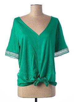 T-shirt manches courtes vert 1 2 3 pour femme