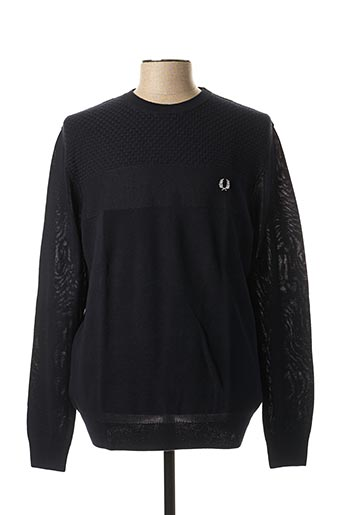 Pull col rond bleu FRED PERRY pour homme