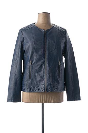 Veste simili cuir bleu JULIE GUERLANDE pour femme