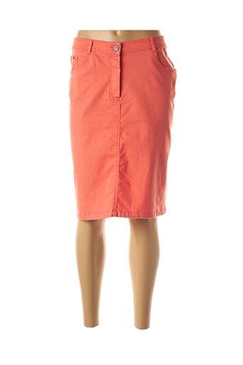 Jupe mi-longue orange FELINO pour femme