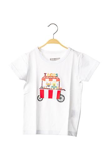 T-shirt manches courtes blanc MILK ON THE ROCKS pour enfant