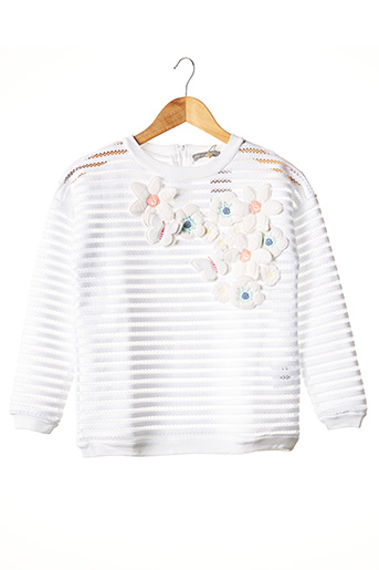 Sweat-shirt blanc MILK ON THE ROCKS pour fille