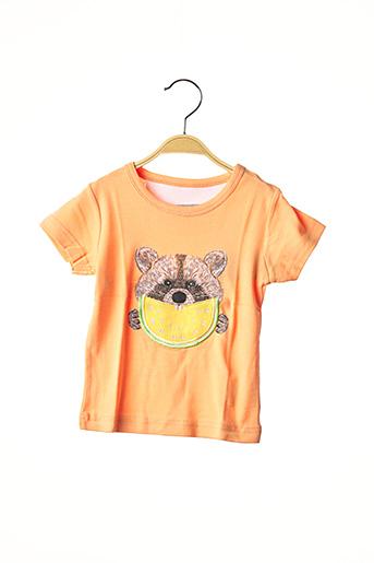 T-shirt manches courtes orange MILK ON THE ROCKS pour fille