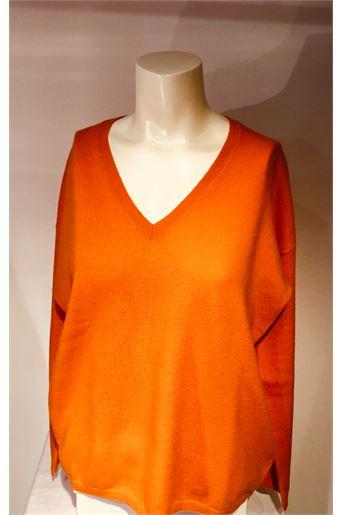 Pull col V orange ALLUDE pour femme
