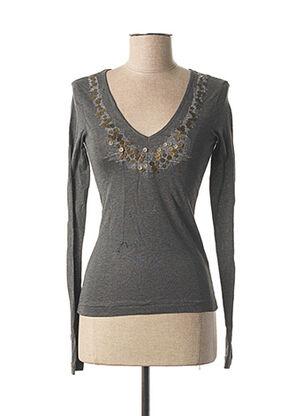 T-shirt manches longues gris MARITHE & FRANCOIS GIRBAUD pour femme