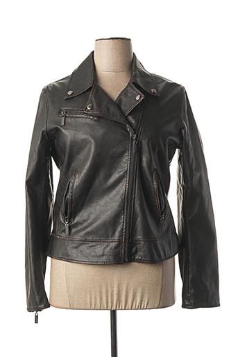 Veste simili cuir noir RINO & PELLE pour femme