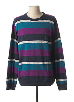 Pull col rond violet MONTE CARLO pour homme