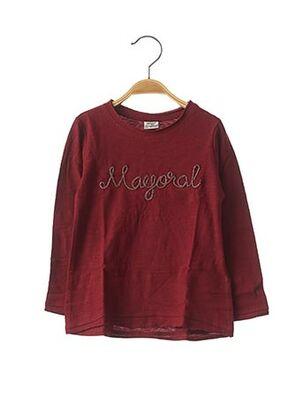 T-shirt manches longues rouge MAYORAL pour fille