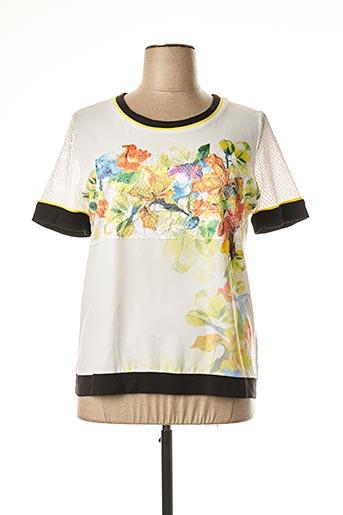 T-shirt manches courtes jaune PAUSE CAFE pour femme
