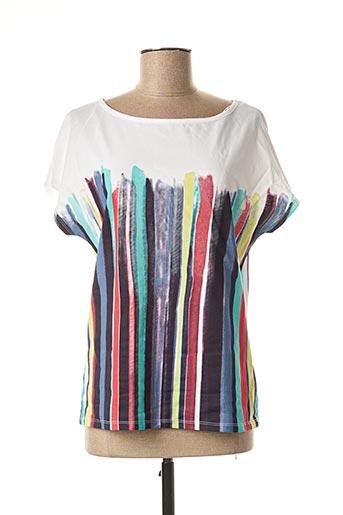 T-shirt manches courtes blanc MARBLE pour femme