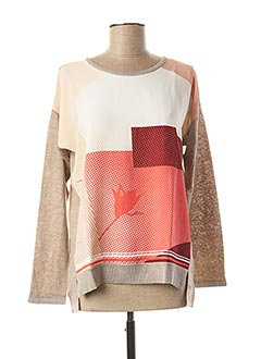 Pull col rond beige TREND pour femme