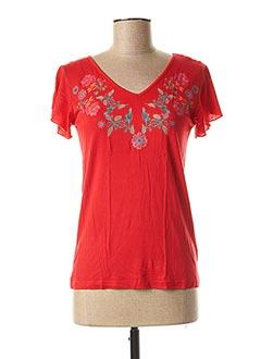 T-shirt manches courtes rouge COLINE pour femme