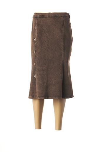 Jupe mi-longue marron AQUAJEANS pour femme