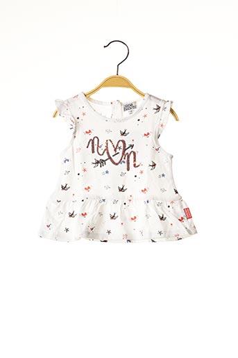 T-shirt manches courtes blanc NANO & NANETTE pour fille