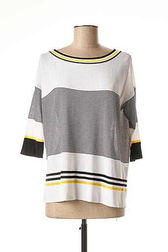 Pull col rond blanc ELEONORA AMADEI pour femme