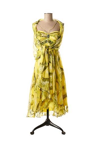 Robe mi-longue jaune DESTINO pour femme