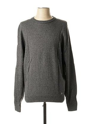 Pull col rond gris MARVELIS pour homme