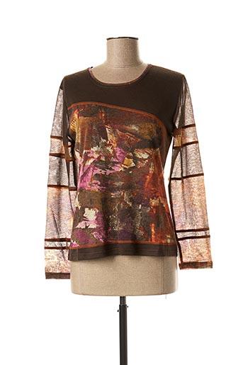 T-shirt manches longues marron FRANCE RIVOIRE pour femme
