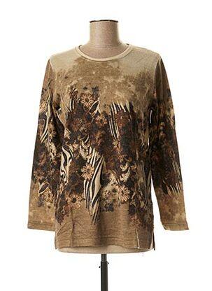 T-shirt manches longues marron GUY DUBOUIS pour femme