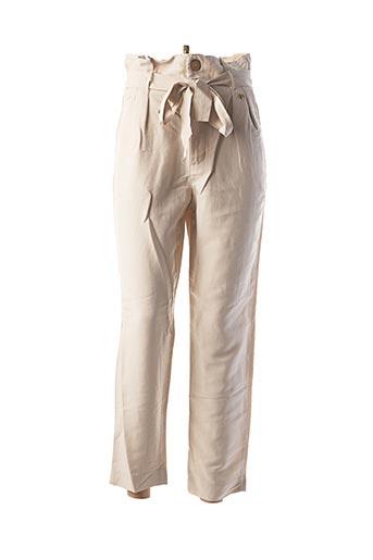 Pantalon casual beige COTTON BROTHERS pour femme