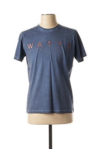 T-shirt manches courtes bleu WATTS pour homme