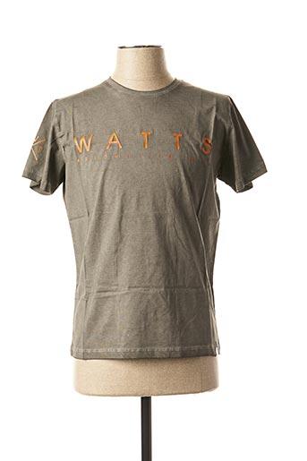 T-shirt manches courtes vert WATTS pour homme