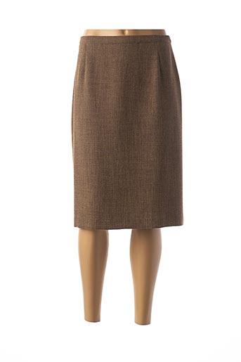 Jupe mi-longue marron FEDORA pour femme