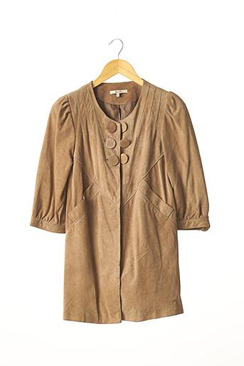 Veste en cuir beige BEL AIR pour femme
