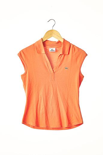 Polo sans manche orange LACOSTE pour femme