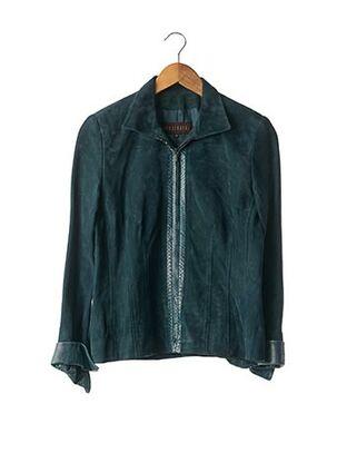 Veste en cuir bleu APOSTROPHE pour femme