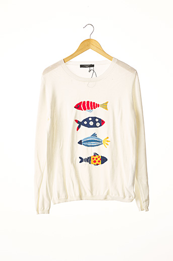 Pull col rond blanc WEEKEND MAXMARA pour femme