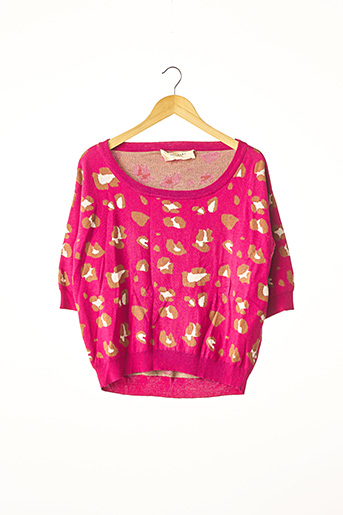 Pull col rond rose AKIABARA pour femme