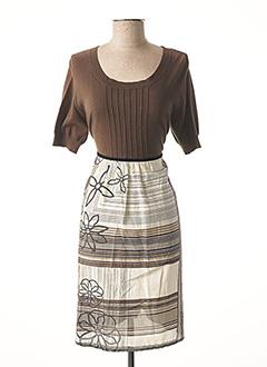 Robe mi-longue marron JENSEN pour femme