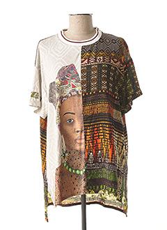 T-shirt manches courtes marron DESIGUAL pour femme