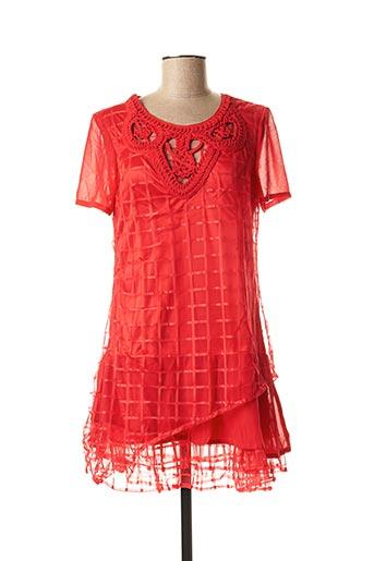 Tunique manches courtes rouge L33 pour femme