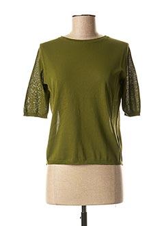 Pull col rond vert APUNTOB pour femme