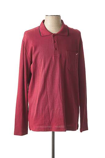 Polo manches longues rouge OAKS VALLEY pour homme