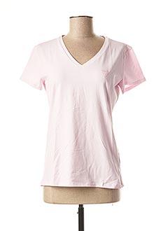 T-shirt manches courtes rose GUESS pour femme