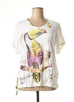 T-shirt manches courtes blanc BE THE QUEEN pour femme