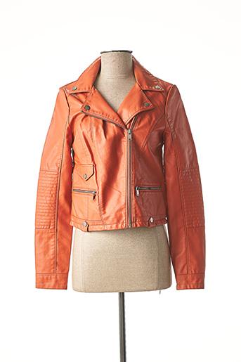 Veste simili cuir orange VERO MODA pour femme