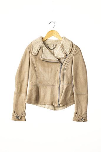 Veste en cuir beige BURBERRY pour femme