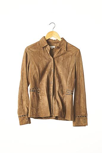 Veste en cuir marron FACONNABLE pour femme