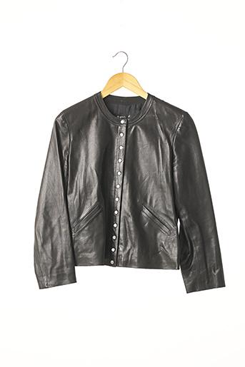 Veste en cuir noir AGNES B pour femme