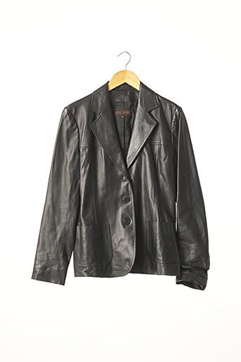 Veste en cuir noir APOSTROPHE pour femme